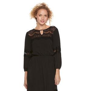 Lily Rose Medium Long Sleeved Black Skater Dress